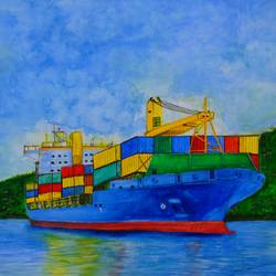cargo ship watercolour, 17 x 12 inch, rijoy  emmanuel,paintings,landscape paintings,nature paintings,paintings for living room,paintings for bedroom,paintings for office,paper,watercolor,17x12inch,GAL0643115746Nature,environment,Beauty,scenery,greenery
