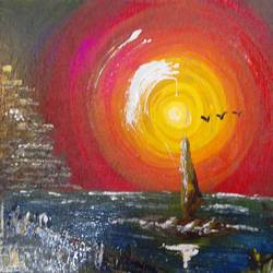 suneffect in the middle of night, 12 x 8 inch, suresh kyatham ,nature paintings,paintings for bedroom,love paintings,ply board,pencil color,12x8inch,GAL04471575Nature,environment,Beauty,scenery,greenery,,trees,water,beautiful,leaves,sun,birds,sunset