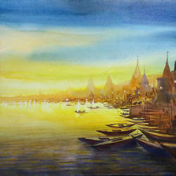 evening varanasi ghats, 30 x 22 inch, samiran sarkar,paintings,cityscape paintings,realism paintings,contemporary paintings,realistic paintings,paintings for dining room,paintings for living room,paintings for bedroom,paintings for hotel,paintings for school,paintings for hospital,paintings for dining room,paintings for living room,paintings for bedroom,paintings for hotel,paintings for school,paintings for hospital,handmade paper,watercolor,30x22inch,GAL0574915750