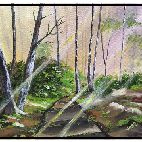 sunshine in forest, 17 x 13 inch, subhash gijare,paintings,landscape paintings,nature paintings,paintings for dining room,paintings for living room,paintings for bedroom,paintings for office,paintings for bathroom,paintings for kids room,paintings for hotel,paintings for kitchen,paintings for school,paintings for hospital,canvas,acrylic color,17x13inch,GAL013815757Nature,environment,Beauty,scenery,greenery