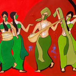 musical group, 47 x 24 inch, chetan katigar,paintings,figurative paintings,modern art paintings,religious paintings,portrait paintings,abstract expressionist paintings,art deco paintings,expressionist paintings,impressionist paintings,contemporary paintings,love paintings,paintings for living room,paintings for bedroom,paintings for office,canvas,acrylic color,47x24inch,GAL026615764