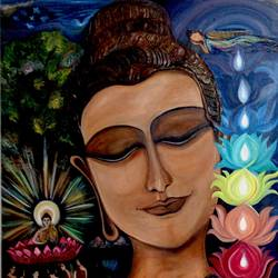 road to nirvana, 42 x 46 inch, sumita srivastava,paintings,buddha paintings,religious paintings,paintings for living room,paintings for bedroom,paintings for office,paintings for bathroom,paintings for kids room,canvas,oil,42x46inch,religious,peace,meditation,meditating,gautam,goutam,buddha,lord,mudra,modern art,sleeping,GAL0261115766