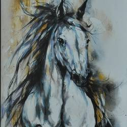 white horse, 24 x 48 inch, dls  art gallery,paintings,portrait paintings,horse paintings,paintings for living room,paintings for office,paintings for kids room,paintings for hotel,paintings for school,paintings for hospital,canvas,acrylic color,24x48inch,GAL0692615768