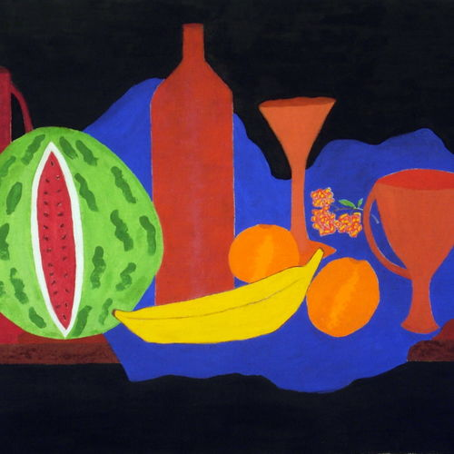 still life with fruit and glassware , 18 x 15 inch, vijayan kannampilly ,still life paintings,paintings for dining room,ply board,pencil color,18x15inch,GAL05991577