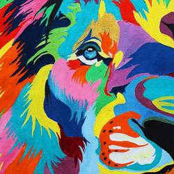 the abstract lion, 12 x 16 inch, soma pradhan,paintings,wildlife paintings,paintings for bedroom,paintings for office,paintings for hotel,paintings for kitchen,paintings for school,canvas,oil,12x16inch,GAL064515777