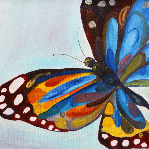 the blue butterfly, 12 x 16 inch, soma pradhan,paintings,wildlife paintings,paintings for living room,paintings for bedroom,paintings for office,paintings for bathroom,paintings for kids room,paintings for hotel,paintings for school,paintings for hospital,canvas,oil,12x16inch,GAL064515779