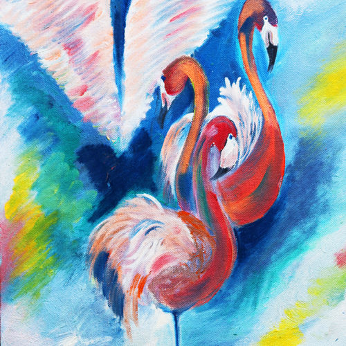the flemingoes abstract, 12 x 16 inch, soma pradhan,paintings,wildlife paintings,paintings for dining room,paintings for bedroom,paintings for office,paintings for kids room,paintings for hotel,paintings for kitchen,paintings for school,paintings for hospital,canvas,oil,12x16inch,GAL064515780