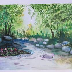 the river ans stream of forest, 14 x 11 inch, soma pradhan,paintings,landscape paintings,paintings for bedroom,paintings for kids room,paintings for hotel,paintings for school,paintings for hospital,paintings for bedroom,paintings for kids room,paintings for hotel,paintings for school,paintings for hospital,brustro watercolor paper,watercolor,14x11inch,GAL064515785
