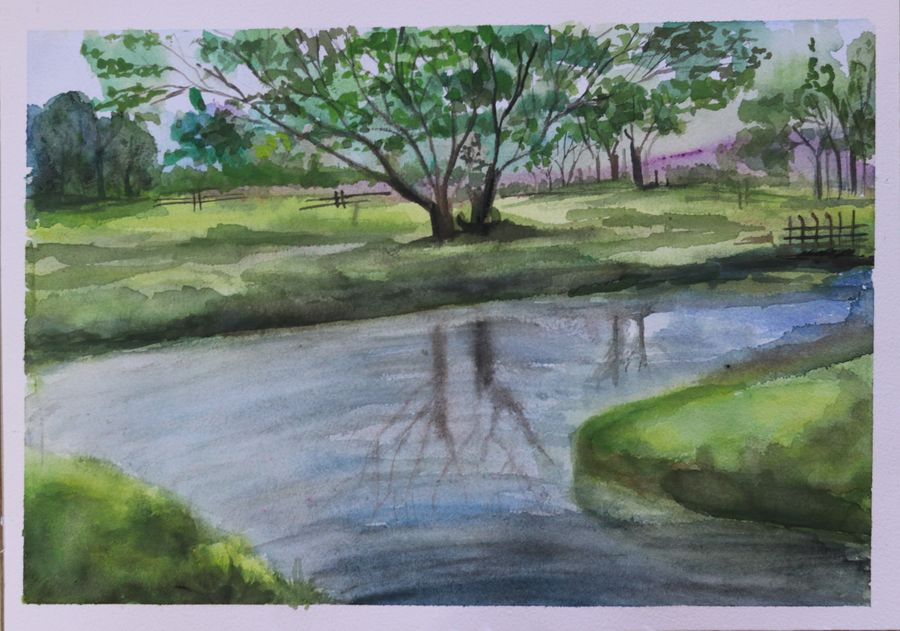 the reflection of tree on water, 14 x 11 inch, soma pradhan,paintings,landscape paintings,paintings for kids room,paintings for hotel,paintings for school,paintings for hospital,brustro watercolor paper,watercolor,14x11inch,GAL064515786