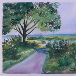 the tree and the road, 14 x 11 inch, soma pradhan,paintings,landscape paintings,paintings for office,paintings for bathroom,paintings for kids room,paintings for hotel,paintings for kitchen,paintings for school,paintings for hospital,brustro watercolor paper,watercolor,14x11inch,GAL064515787