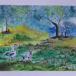 the bird santuary, 14 x 11 inch, soma pradhan,paintings,wildlife paintings,landscape paintings,paintings for kids room,paintings for hotel,paintings for hospital,handmade paper,watercolor,14x11inch,GAL064515788