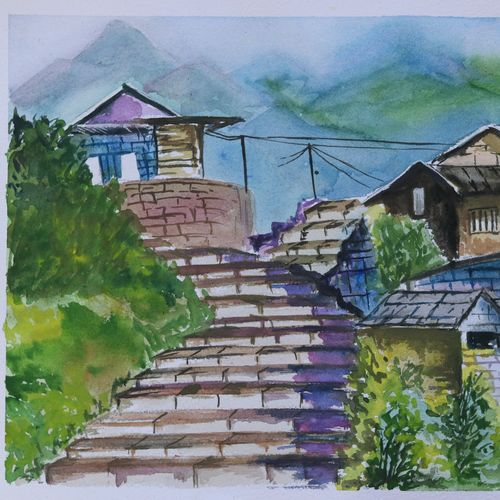 the mountains and village, 14 x 11 inch, soma pradhan,paintings,landscape paintings,paintings for bathroom,paintings for hotel,paintings for school,paintings for hospital,handmade paper,watercolor,14x11inch,GAL064515789