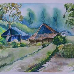 the village scene, 14 x 11 inch, soma pradhan,paintings,landscape paintings,paintings for office,paintings for hotel,paintings for kitchen,paintings for school,paintings for hospital,handmade paper,watercolor,14x11inch,GAL064515790