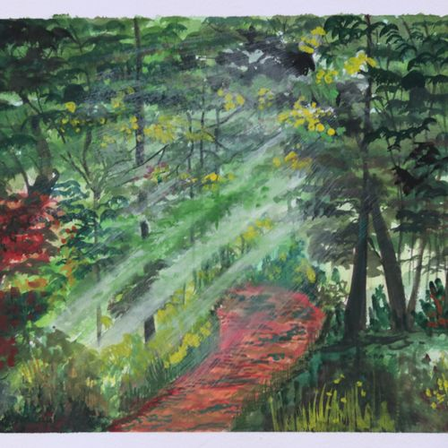 the sunrays through trees, 14 x 11 inch, soma pradhan,nature paintings,handmade paper,watercolor,14x11inch,GAL064515791Nature,environment,Beauty,scenery,greenery