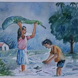 the kids in rainfall, 14 x 11 inch, soma pradhan,paintings,landscape paintings,paintings for living room,paintings for bathroom,paintings for kids room,paintings for hotel,paintings for kitchen,paintings for school,handmade paper,watercolor,14x11inch,GAL064515792