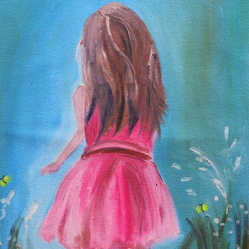 the little girl in pink dress, 12 x 16 inch, soma pradhan,paintings,surrealist paintings,paintings for bedroom,paintings for office,paintings for bathroom,paintings for hotel,paintings for kitchen,paintings for school,paintings for hospital,canvas,oil,12x16inch,GAL064515793