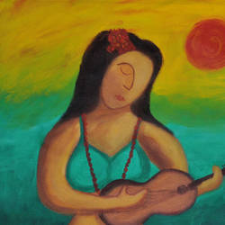 ukulele, 17 x 17 inch, smita   asole,paintings,figurative paintings,paintings for living room,paintings for living room,canvas,acrylic color,17x17inch,GAL0691215796