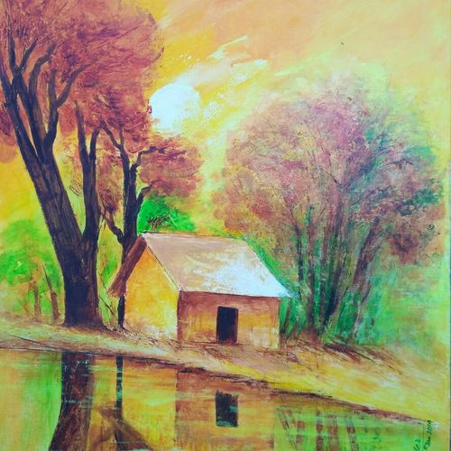 landscape-1, 14 x 20 inch, a.b.  kaser,landscape paintings,paintings for living room,thick paper,acrylic color,14x20inch,GAL06361580