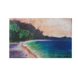 beach, 6 x 4 inch, ami  chavda,paintings,landscape paintings,nature paintings,paper,pastel color,6x4inch,GAL0469215809Nature,environment,Beauty,scenery,greenery