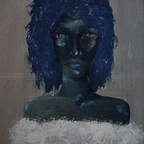 blue girl, 50 x 75 inch, ritta shoufan,paintings,modern art paintings,expressionist paintings,impressionist paintings,portraiture,paintings for dining room,paintings for living room,paintings for bedroom,paintings for office,paintings for hotel,canvas,acrylic color,mixed media,oil,50x75inch,GAL0704515818