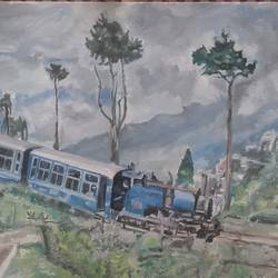 darjeeling, 18 x 30 inch, amit kumar sinha,paintings,landscape paintings,paintings for dining room,paintings for living room,paintings for bedroom,paintings for office,paintings for hotel,paintings for school,canvas,oil,18x30inch,GAL0691315828