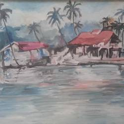 houses by the lake, 18 x 30 inch, amit kumar sinha,paintings,landscape paintings,paintings for dining room,paintings for living room,paintings for office,paintings for hotel,paintings for school,canvas,oil,18x30inch,GAL0691315832