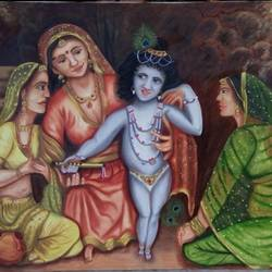 baal krishna , 36 x 24 inch, swapnil  asthana ,paintings,conceptual paintings,religious paintings,paintings for living room,canvas,oil,36x24inch,GAL0704615833