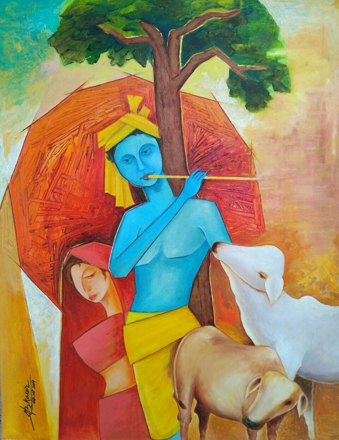 mohana, 16 x 20 inch, a.b.  kaser,figurative paintings,paintings for living room,radha krishna paintings,thick paper,oil paint,16x20inch,GAL06361584