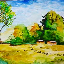 landscape, 11 x 13 inch, sonia dutta,landscape paintings,thick paper,watercolor,11x13inch,GAL0705515840