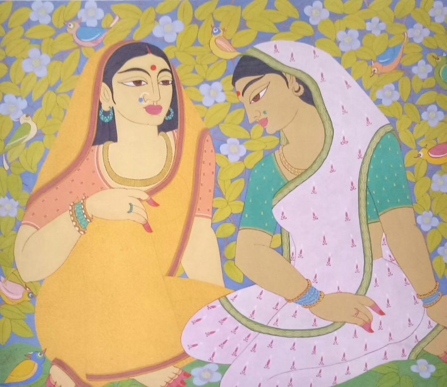 ladies in the garden, 36 x 30 inch, joydeep mukherjee,paintings,figurative paintings,paintings for bedroom,canvas,natural color,36x30inch,GAL0472915841