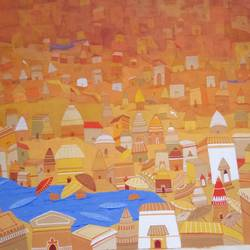 benaras 1, 30 x 22 inch, joydeep mukherjee,paintings,abstract paintings,hardboard,natural color,30x22inch,GAL0472915843