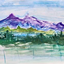 dreamy himalayan retreat, 12 x 8 inch, jalpa chauhan,paintings,landscape paintings,nature paintings,paintings for living room,paintings for office,paintings for hotel,thick paper,watercolor,12x8inch,GAL0669715854Nature,environment,Beauty,scenery,greenery