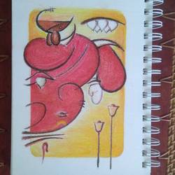 lord ganesh abstract wall, 6 x 8 inch, aarthi  mohan,paintings,abstract paintings,paintings for living room,thick paper,oil,6x8inch,GAL0706515861