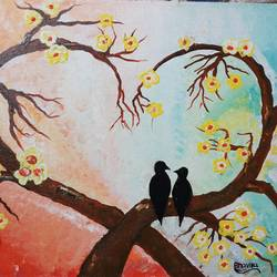 acrelic, 12 x 18 inch, bhavika salunke,wildlife paintings,animal paintings,canvas,acrylic color,12x18inch,bird,tree,love,couple,GAL0706915866,birds,trees,love,branches