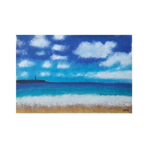 beach, 9 x 6 inch, ami  chavda,paintings,landscape paintings,nature paintings,paintings for living room,paintings for bedroom,paintings for hotel,cartridge paper,pastel color,9x6inch,GAL0469215871Nature,environment,Beauty,scenery,greenery