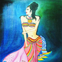 matsyagandha, 12 x 17 inch, sahya sajith,paintings,figurative paintings,paintings for bedroom,paintings for bedroom,thick paper,oil,12x17inch,GAL0698015875