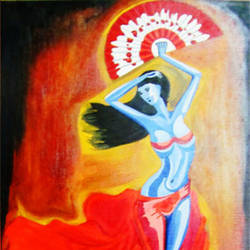 blue lady, 12 x 17 inch, sahya sajith,paintings,figurative paintings,paintings for bedroom,thick paper,oil,12x17inch,GAL0698015876