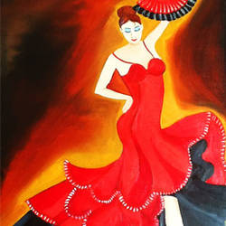flamenco dancer 2, 12 x 17 inch, sahya sajith,paintings,figurative paintings,paintings for living room,paintings for living room,thick paper,oil,12x17inch,GAL0698015878