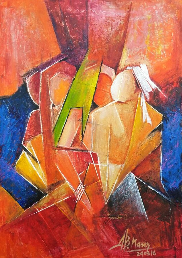 life is a journey , 10 x 14 inch, a.b.  kaser,paintings for living room,abstract paintings,thick paper,oil paint,10x14inch,GAL06361588