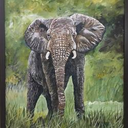 standing high, 16 x 20 inch, pickie arts,wildlife paintings,animal paintings,elephant paintings,paintings for dining room,paintings for living room,paintings for bedroom,paintings for office,paintings for kids room,paintings for hotel,paintings for school,paintings for hospital,canvas,acrylic color,16x20inch,GAL0708815884