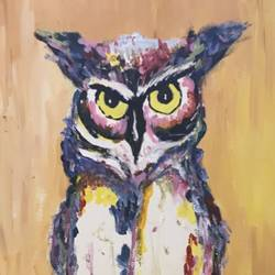 rangeen owl, 16 x 12 inch, pickie arts,paintings,wildlife paintings,figurative paintings,modern art paintings,animal paintings,paintings for dining room,paintings for living room,paintings for bedroom,paintings for office,paintings for bathroom,paintings for kids room,paintings for hotel,paintings for kitchen,paintings for school,paintings for hospital,canvas,acrylic color,16x12inch,GAL0708815889