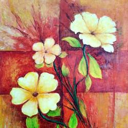 flowers, 10 x 13 inch, a.b.  kaser,flower paintings,paintings for living room,thick paper,acrylic color,10x13inch,GAL06361589