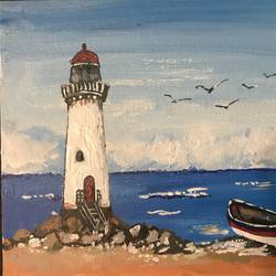 guiding lighthouse, 10 x 8 inch, pickie arts,paintings,cityscape paintings,landscape paintings,nature paintings,paintings for dining room,paintings for living room,paintings for bedroom,paintings for office,paintings for bathroom,paintings for kids room,paintings for hotel,paintings for kitchen,paintings for school,paintings for hospital,canvas,acrylic color,10x8inch,GAL0708815890Nature,environment,Beauty,scenery,greenery