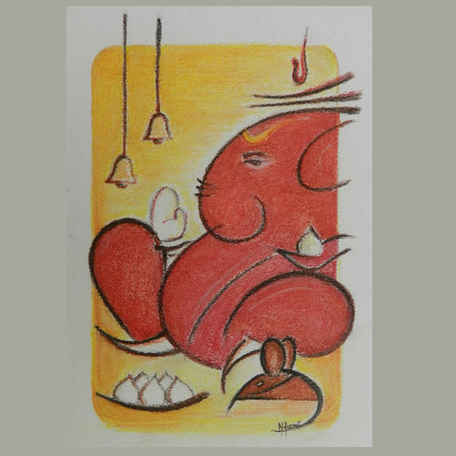 abstract  of lord ganesh, 6 x 8 inch, aarthi mohan,paintings,abstract paintings,paintings for living room,thick paper,oil,pastel color,6x8inch,GAL0709015894