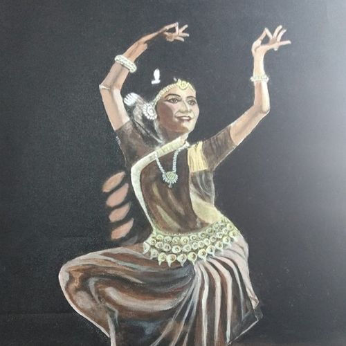 dancer, 16 x 19 inch, gaurab  bose,paintings,figurative paintings,paintings for dining room,paintings for living room,paintings for bedroom,paintings for office,paintings for hotel,canvas,acrylic color,16x19inch,GAL0655015906