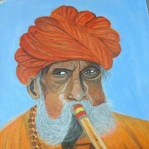turbaned musician, 17 x 13 inch, gaurab  bose,paintings,figurative paintings,paintings for dining room,paintings for living room,paintings for bedroom,paintings for office,paintings for hotel,canvas,acrylic color,17x13inch,GAL0655015907