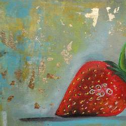 strawberry !! still life !! , 12 x 8 inch, amita dand,paintings,still life paintings,contemporary paintings,realistic paintings,paintings for dining room,paintings for hotel,paintings for kitchen,paintings for dining room,paintings for hotel,paintings for kitchen,canvas,acrylic color,12x8inch,GAL0146715913