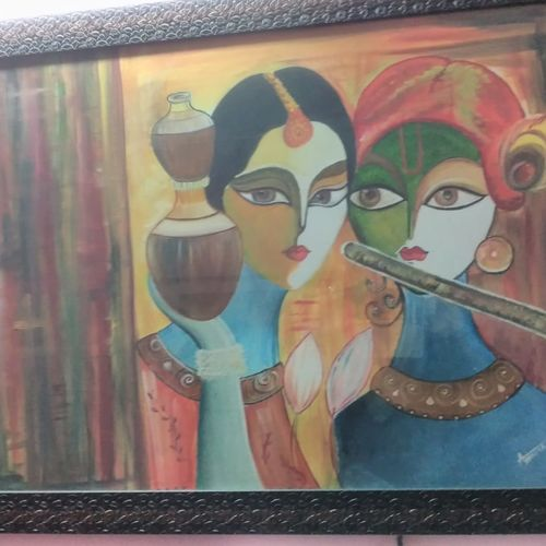radhakrishna, 35 x 24 inch, ankita mandal,paintings,modern art paintings,paintings for living room,paintings for bedroom,paintings for living room,paintings for bedroom,canvas,oil,35x24inch,GAL074515914