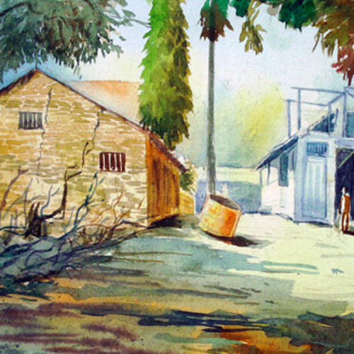 landscape work, 12 x 12 inch, rajendra bhosale,landscape paintings,paintings for living room,thick paper,watercolor,12x12inch,GAL06471592