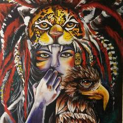 american tribal, 24 x 36 inch, sampada patel,paintings,conceptual paintings,paintings for hotel,paintings for hotel,canvas,acrylic color,24x36inch,GAL0712315926